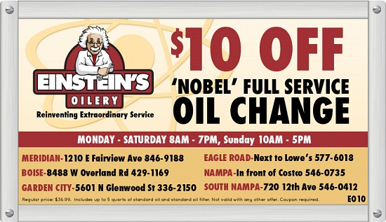 BOISE-OIL-CHANGE-COUPON-MERDIAN-NAMPA-EAGLE-GARDEN-CITY-IDAHO-EINSTEINS-OILERY-OIL-AND-LUBE-